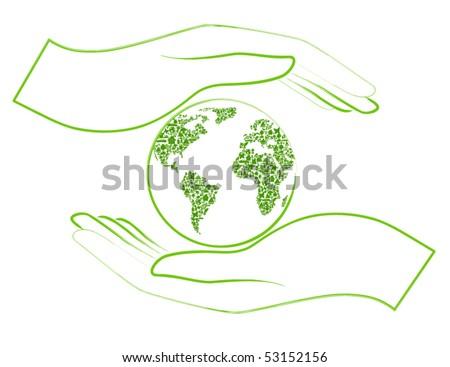 green earth in open hands - stock vector