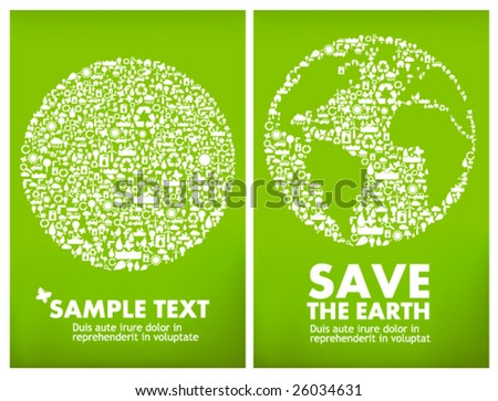 Green earth made from environment, ecology & energy icons. Save the earth, global ecology & sustainable development concept. - stock vector