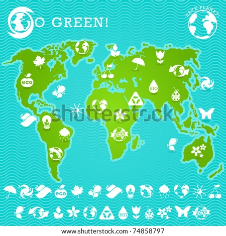 Green Earth Map Illustration - stock vector