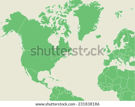 Green earth map with countries borders  - stock vector