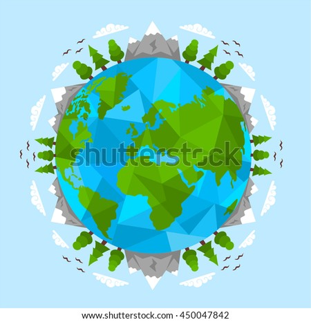 Green Earth, tourism, travel - stock vector