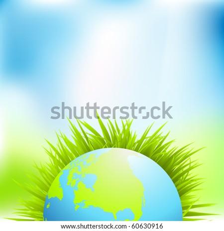 Green earth, Vector. - stock vector