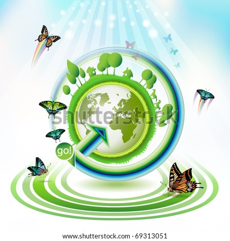 Green earth with butterflies and concentric stripes - stock vector