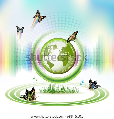 Green Earth with butterflies and concentric stripes