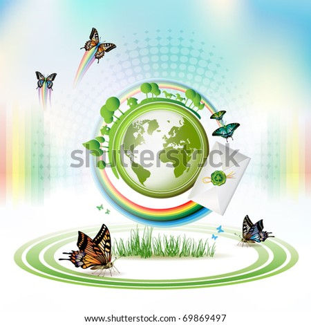 Green Earth with butterflies and envelope over sky background