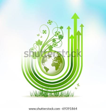 Green Earth with green arrow stripes over sky background, vector illustration