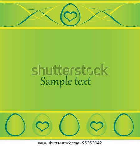 green easter card with eggs and space for text. Vector Eps10
