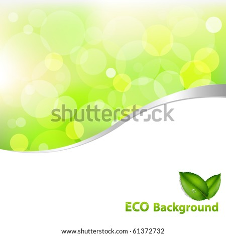 Green Eco Background With Leaves And Text, Vector Illustration - stock vector