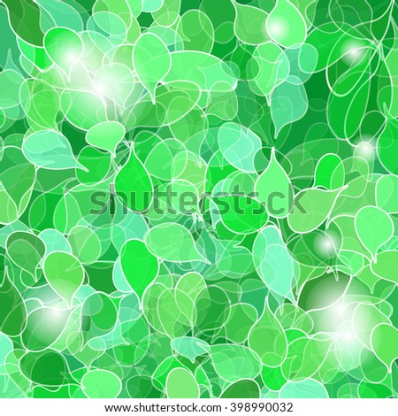 green eco background with many leaves - stock vector