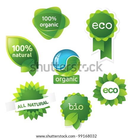 green, eco, bio and organic labels and stickers on a white background