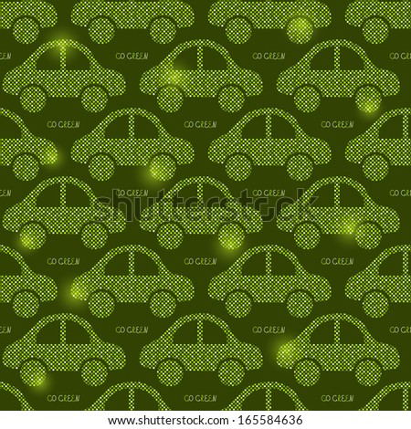 Green Eco Car Seamless Pattern. Vector Illustration of Earth Protection Concept - stock vector