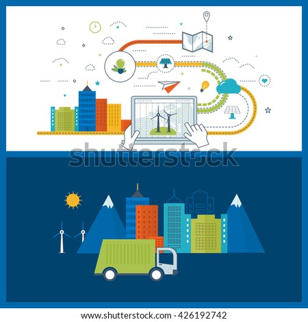 Green eco city and eco-friendly city concept. Modern energy safety. Flat green energy, ecology, eco, clean planet, urban landscape and industrial factory buildings concept. Color line icons - stock vector