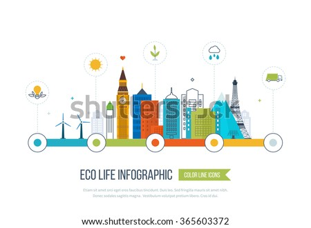 Green eco city and eco life infographic. Modern energy safety. Ecology concept, city eco. Flat green energy, eco, clean planet, urban landscape and industrial factory buildings concept.  - stock vector