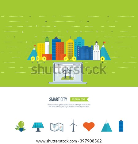 Green eco city, ecology and eco-friendly city concept. Smart city. City buiding and urban landscape. Color line icons - stock vector
