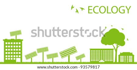 Green Eco city ecology vector background concept with solar plants - stock vector