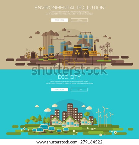 Green eco city with sustainable architecture and environmental pollution by factory toxic waste. Vector illustration banners set. Web banner and promotional material concept. Eco Technology. - stock vector