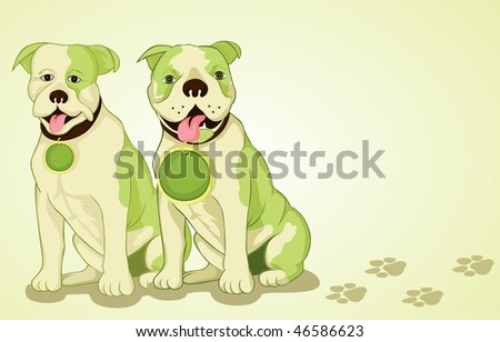 Green eco dogs illustration - stock vector