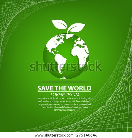 Green Eco Earth, Isolated On White Background - stock vector