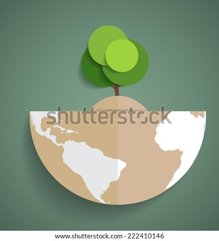 Green Eco Earth, Paper green tree on globe, vector illustration. - stock vector