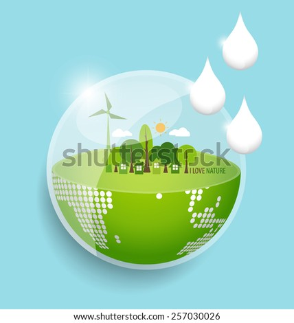 Green Eco Earth with water drop. Vector Illustration. - stock vector