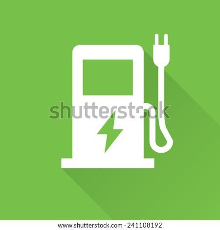 Green Eco Electric Fuel Pump Vector Icon - stock vector