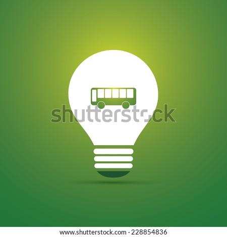 Green Eco Energy Concept Icon - Electric Bus - Public Transportation - stock vector