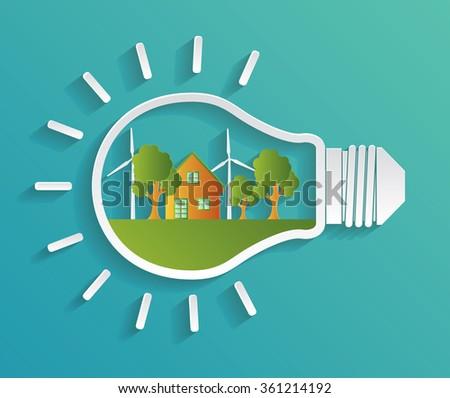 Green eco energy concept. Vector illustration - stock vector