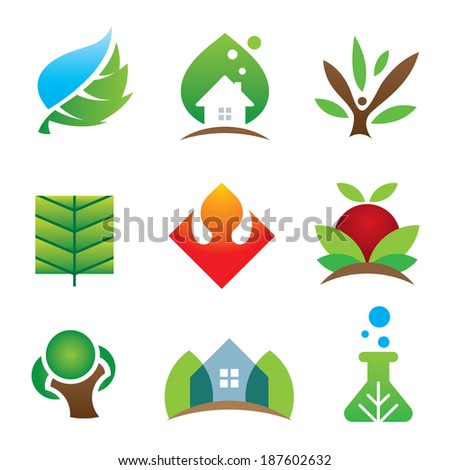 Green eco environment science creation for brighter future logo icon set - stock vector