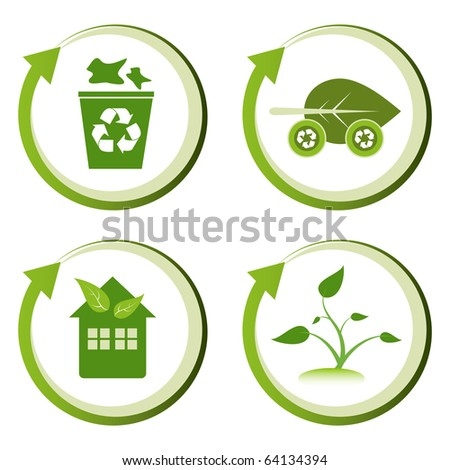 Green eco friendly design concepts – recycle bin, green transport, green house, green seedling. - stock vector