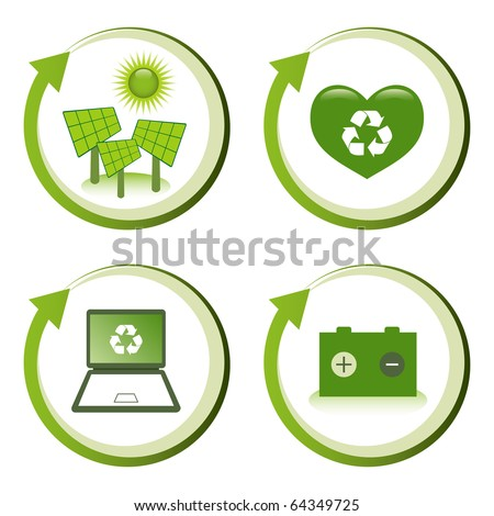 Green eco friendly design concepts - solar power, love recycling, computer recycling, battery recycling.