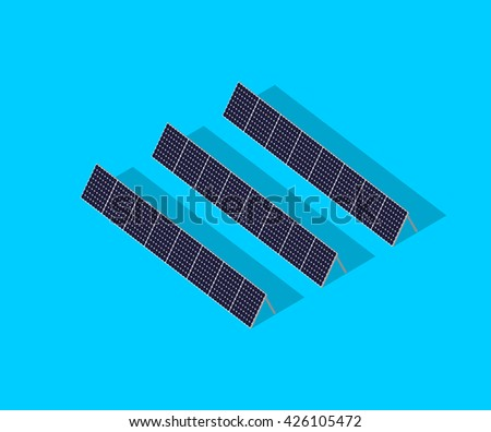 Green eco friendly energy from the sun. Solar energy panel with shadows vector illustration. Photovoltaic modules for renewable energy. Isolated on blue color background - stock vector
