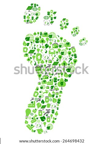 green eco friendly footprint filled with ecology icons - stock vector