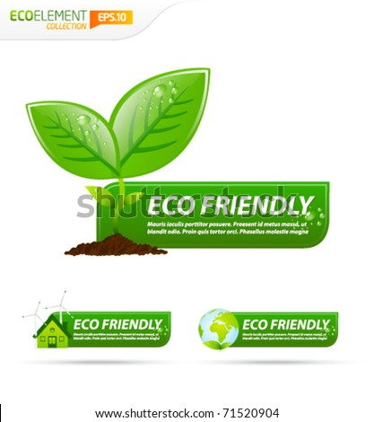 Green eco friendly template banner collection - stock vector