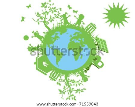 green eco globe - stock vector