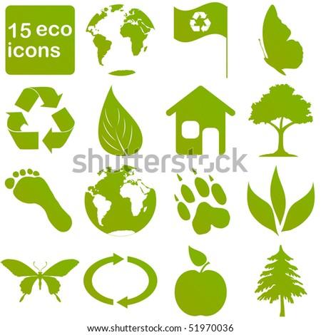 green eco icons - stock vector
