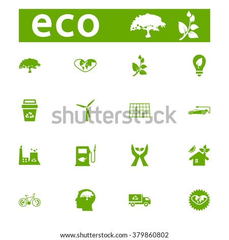 Green ECO icons collection - vector stock