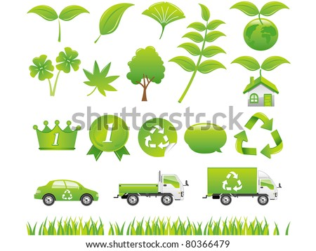 green eco icons set - stock vector