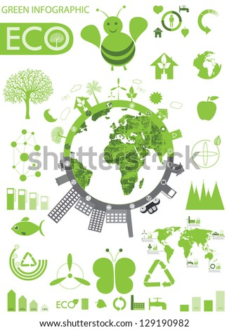 Green, Eco info graphics collection, charts, symbols, graphic vector elements - stock vector