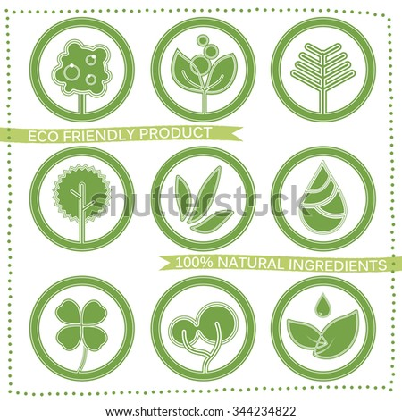 Green eco labels set with leaves and trees
