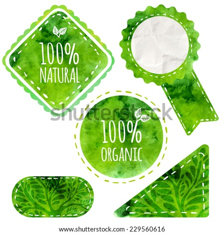 Green eco labels with text 100% natural and organic. Vector badges with watercolor texture isolated on white background.  Artistic design for natural products (cosmetic, food, craft).  - stock vector
