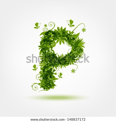 Green eco letter P for your design - stock vector