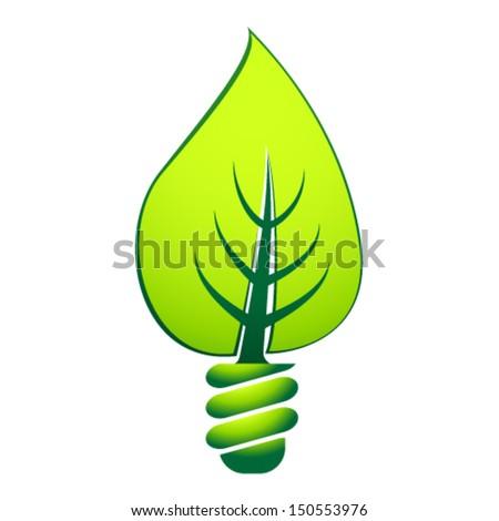 green eco light bulb - stock vector
