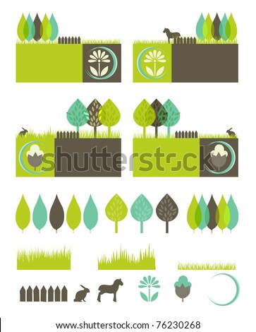 green, eco, nature environmental banners with isolated elements to compose your own design - stock vector