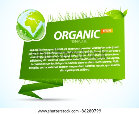 Green eco origami template with recycle sign - stock vector