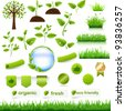 Green Eco Set, Isolated On White Background, Vector Illustration - stock photo