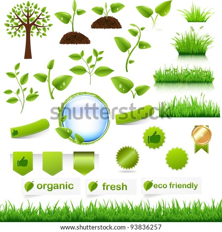 Green Eco Set, Isolated On White Background, Vector Illustration - stock vector