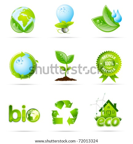 Green eco shiny icon collection - stock vector
