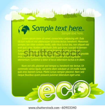 Green eco template with clouds - stock vector