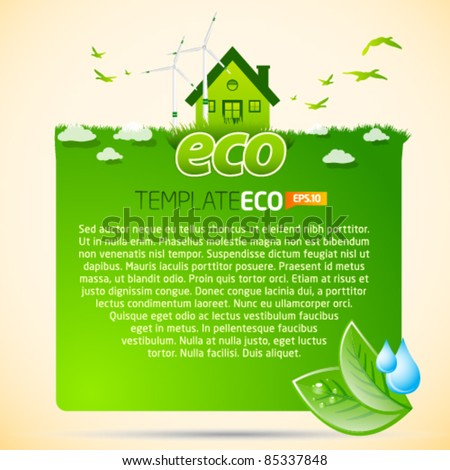 Green eco template with house icon - stock vector