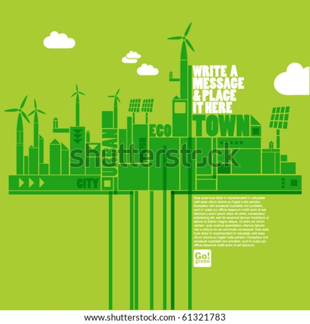 green eco town - stock vector